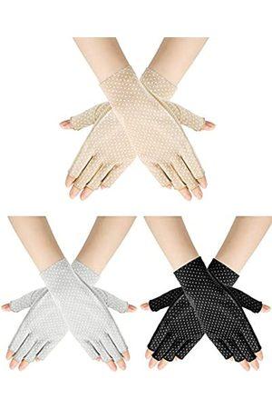 Geyoga 3 Paar Sunblock Fingerlose Handschuhe Rutschfest UV-Schutz Fahren Handschuhe Sommer Outdoor Handschuhe für Frauen Mädchen - - Mittel