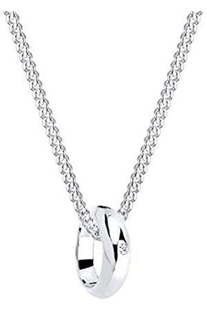 DIAMORE Halskette Damen Kreis Ring Anhänger mit Diamant (0.005 ct) in 925 Sterling Silber