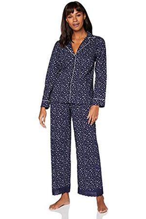 IRIS & LILLY Damen Pyjama-Set aus Baumwolle, Blau (blauer Stern), M