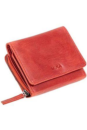 MIKA Damen Slips - 42179 - Geldbörse aus Echt Leder, Portemonnaie im Querformat, Geldbeutel mit 6 Kartenfächer, 2 Einschubfächer, Scheinfach und Münzfach mit Reißverschluss, Brieftasche in