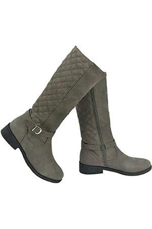 Wells Collection Damen Gesteppte kniehohe Stiefel mit flachem Absatz und seitlichem Reißverschluss, weiches Wildlederimitat, (taupe)