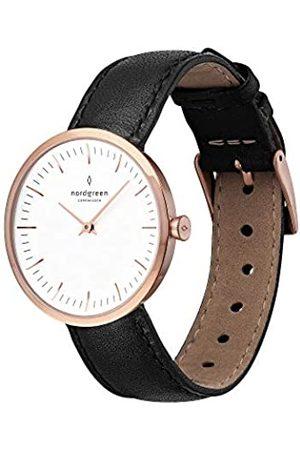 nordgreen Infinity skandinavische Damenuhr in Roségold mit weißem Ziffernblatt und austauschbarem 32mm Leder Armband 10025