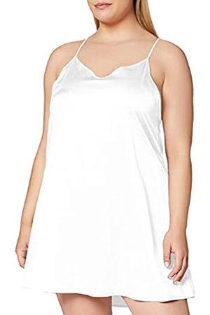 IRIS & LILLY Amazon-Marke: Damen Nachthemd mit Spitze, Weiß (Bright White), M