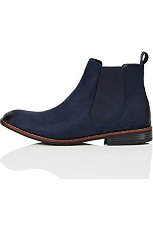 FIND Classic Herren Chelsea-Boots in Wildleder-Optik, (Navy)