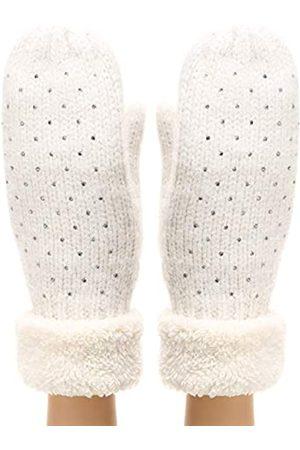 MIRMARU Damen Winter Warme Handschuhe Klassische Dicke Zopfstrick-Fäustlinge mit weichem Plüschfutter - Weiß - Einheitsgröße