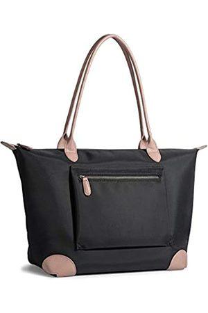 Doris&Jacky Große Nylon-Tragetasche für Damen, leicht, wasserabweisend, Nylon-Einkaufstasche mit Echtlederbesatz
