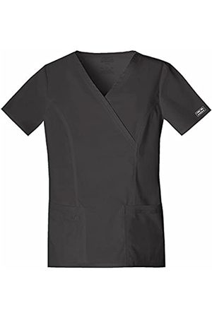 Cherokee Women's Workwear Scrubs Core Stretch Mock Wrap Top (Size 2X-5X), Black
