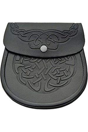 SM Group Schottischer Kilt-Sporran – schwarzes Leder Keltische Kilttasche mit Kettengürtel – edles Kilt-Zubehör – elegante Gürteltasche aus Leder