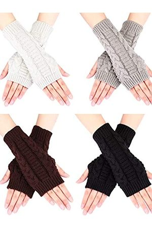 Bememo 4 Paar Damen Lange Fingerlose Handschuhe Winter Handschuh mit Daumen Loch (Farbe Set 4