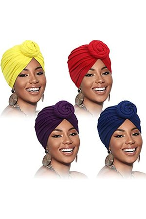 SATINIOR 4 Stück Afrikanisches Muster Kopfbedeckung Vorgebundene Haube Turban Knoten Mütze Kappe Hut (Rein Lila )