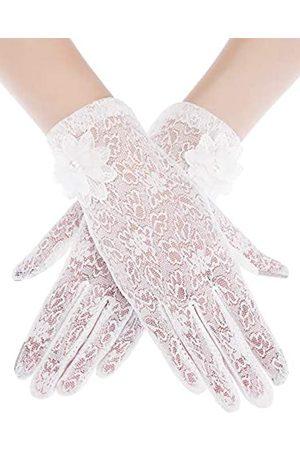 SATINIOR Damen-Spitzen-Handschuhe, elegant, kurze Spitze, Sommer-Handschuhe für Hochzeiten