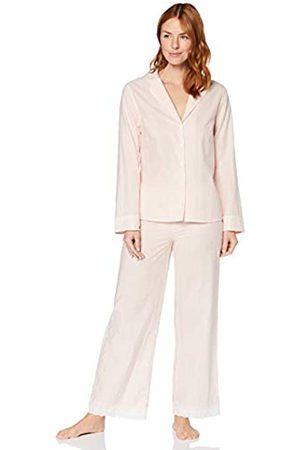IRIS & LILLY Damen Pyjama-Set aus Baumwolle, Pink (rosa gestreift), S