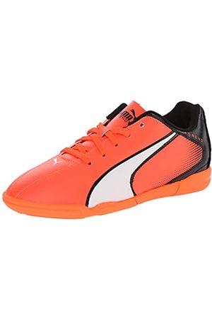 PUMA Adreno Indoor JR Soccer Shoe (Infant/Toddler/Little Kid/Big Kid), Lava Blast/White/Black