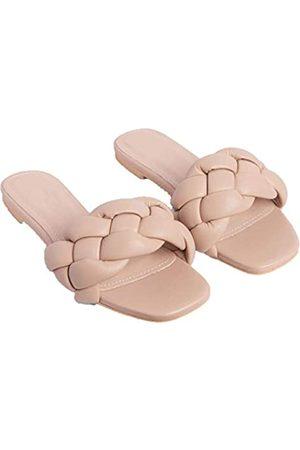 N++A 2021 neue Sommer einfarbige Hausschuhe erhöhen gewebte Schuhe Damen Sandalen. Es kommt in Khaki, Orange und Schwarz., (01 Khaki)