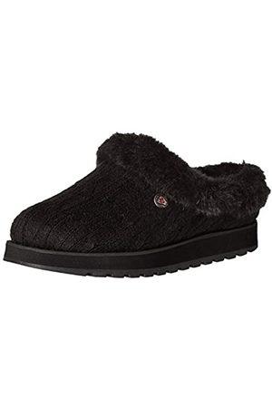 Skechers Damen Keepsakes - Ice Angel Flache Hausschuhe, (Black Cable Knit Sweater/Faux Fur Trim BBK)