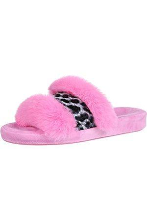 shevalues Fuzzy Hausschuhe mit offenem Zehenbereich, für Damen, Kunstfell, Leopardenmuster, für den Innenbereich, Pink (hot pink)