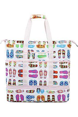 LEDAOU Damen Handtaschen - Große Strand-Tragetasche mit isoliertem Kühler an der Unterseite, für Damen, mit Reißverschluss, für Pool, Picknick, Fitnessstudio