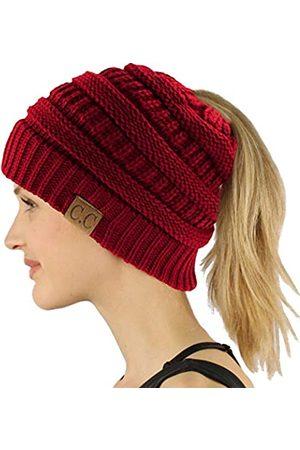 C.C CC Pferdeschwanz Messy Bun BeanieTail Soft Winter Knit Stretch Beanie Mütze - Rot - Einheitsgröße