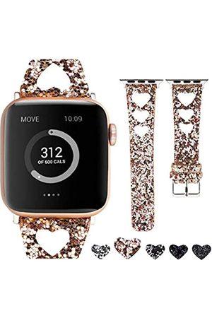 Moonooda Glitzer-Uhrenarmband kompatibel mit Apple Watch-Bändern 38 mm, 40 mm, 42 mm, 44 mm, herzförmiges Liebesarmband, Ersatz für Swatch Sparkle Strap Serie SE 6 5 4 3 2 1