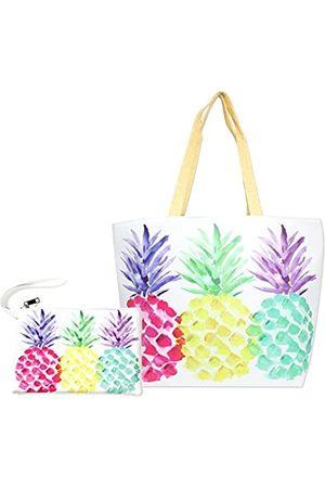 Me Plus Damen Strandtasche und Tasche 2-teiliges Set Tote Schultertasche Reise Organizer Tasche