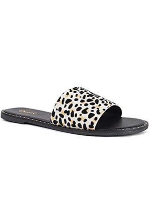 Qupid Kazen Slides für Damen – offene Zehen, flache Sandalen mit metallischen Nieten, (Nude Black Leopard Wildleder)