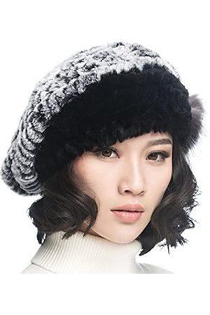 URSFUR Damen Hüte - Frauen Mehrfabrige Warme Weiche Mütze Rex Kaninchen Fellmütze Strickmütze Fedora Barett- mit