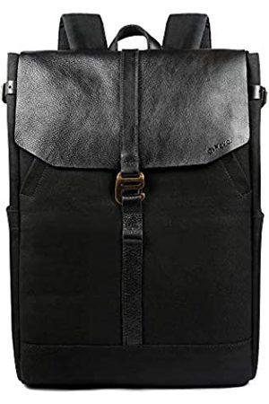 G-FAVOR Canvas Casual Echt-Leder Rucksack Mode Rucksack Daypack Canvas Rucksack Schulrucksack 15.6 Laptop Rucksack für Damen & Herren