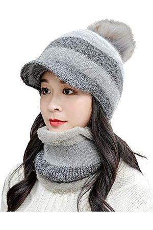 E.Joy Online Damen Mütze mit Zopfmuster, warm, mit Visier, Krempe