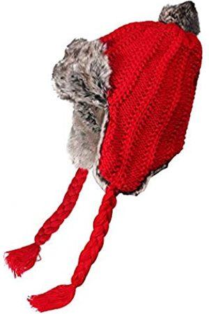 ZLYC Damen Winter Peruanische Mütze Strickmütze Warme Ohrenklappe Beanie Kunstpelz Pompon Mütze (Häkeln )