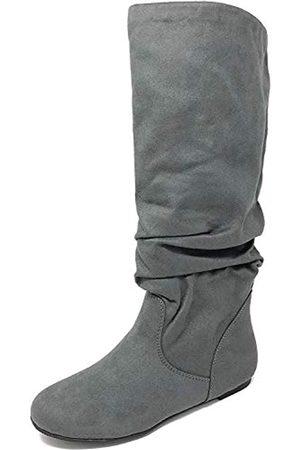 Soda Zuluu Damen Stiefel aus Kunstleder, kniehoch, flach, (Charcoal Suede)