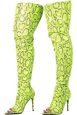 Cape Robbin Toxic Faux Snake Oberschenkel Hohe Overknee Stiefel Peep Toe Stiletto Absatz Mode Kleid Stiefel für Frauen, (lime)