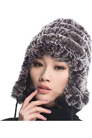 URSFUR Frauen Mehrfabrige Warme Weiche Rex Kaninchen Mütze Fellmütze Bommelmütze Baskenmütze Strickmütze -Kaffee