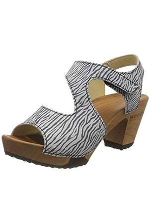 Woody Damen Hannah Pantoletten, Mehrfarbig (Zebra 095)