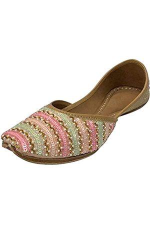 Step N Style Damen Multi Punjabi Jutti Ethnic Mojari Handarbeit Rajasthani Indain Schuhe Jooti, (mehrfarbig)