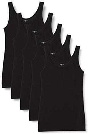 IRIS & LILLY Damen Unterhemd aus Baumwolle, 5er-Pack (Black), L