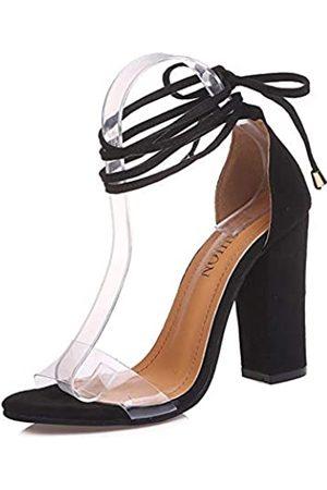 Generic Chegong Gladiator-Sandalen mit Knöchelriemen, offene Zehen, durchsichtig, hoher Absatz