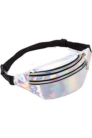 Ho-Lala Holografische Gürteltasche für Damen, Bananenrosa, Gürteltasche, schwarz, geometrische Hüfttaschen, Laser-Brusttasche