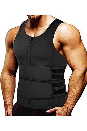 MISS MOLY Herren Sauna-Weste Body Shaper Taille Trainer mit Reißverschluss Rückenstütze Hot Belly Bauch, Brust, Fettverbrennung