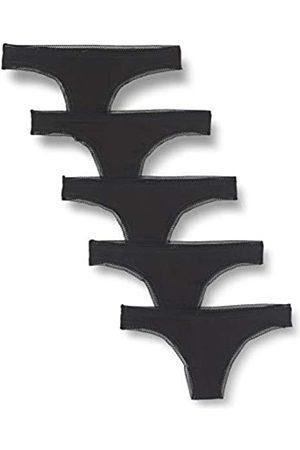 IRIS & LILLY Amazon-Marke: Damen Tanga mit Spitze, 5er-Pack (Black), XS