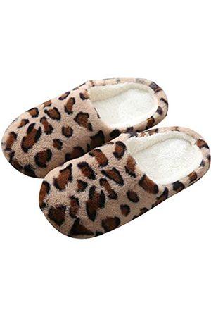 Solyinne Damen Flauschige Leopard Haus Hausschuhe Leichte Reise Hausschuhe Fuzzy Plüsch Fleece Hous Clog Hausschuhe Mute Slippers Spa Hausschuhe