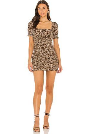 MAJORELLE Lexi Smocked Mini Dress in . Size M, S, XL, XS, XXS.