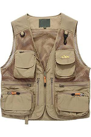 Flygo Herren Netz-Angelweste, mehrere Taschen, schnelltrocknend, atmungsaktiv, für Outdoor-Jagd, Reisen