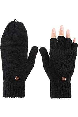 Tatuo Damen Cabrio Handschuh Zopf Handschuh Halb Fingerfäustling mit Deckel für Kalte Tage