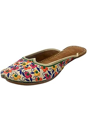 Step N Style Damen Leder Flache Sandalen Ballerina Schuhe Rücken Offen Punjabi Jutti, (mehrfarbig)