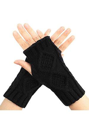 SATINIOR Frauen Winter Stricken Fingerlose Handschuhe Warme Daumenloch Lange Handschuhe Schwarz Häkeln Armlinge