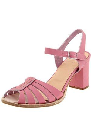 Swedish Hasbeens Damen High Heel Leder Sandalen Knöchelriemen Sandalen, Pink (Bubble Gum pink)