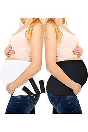 M Like Mama Schwangerschaftspassform, Bambus-Bauchband mit Taillenverlängerung für alle Phasen der Schwangerschaft, 3–4 Stück (klein, 5er-Pack, schwarz und , Bauchbänder mit Silikon-Greifer