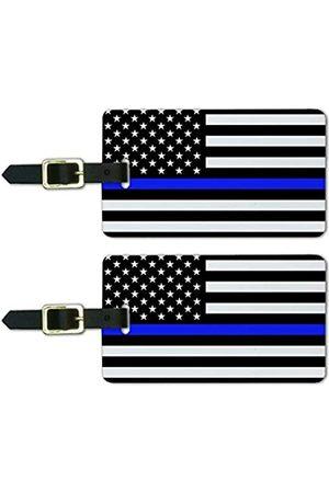 Graphics and More Dünne Blue Line American Flag Gepäckanhänger Koffer Handgepäck Karten – Set von 2
