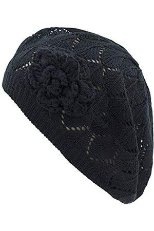 BSB Damen-Beanie-Mütze, gehäkelt, Blumenmuster, leicht, mit Cutout