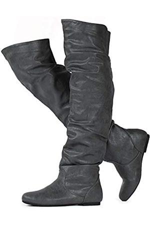 RF ROOM OF FASHION Damen Overknee Hohe Slouchy Stiefel, ( Pu-kein Reißverschluss (mittlere Breite))
